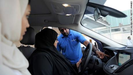 A Saudi woman has a driving lesson in Jeddah on March 7.