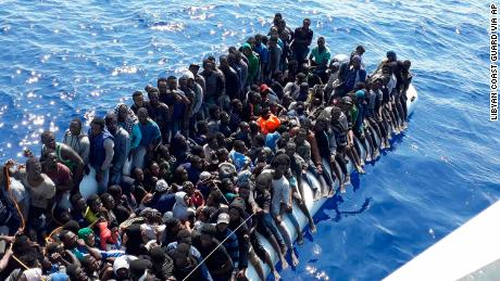 Migrants rescued by the Libyan Coast Guard on Sunday.