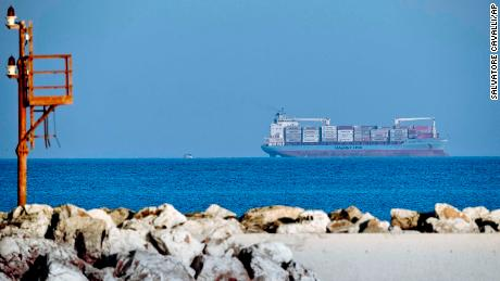 A cargo ship operated by Danish company Maersk, pictured off Sicily's coast on Monday.